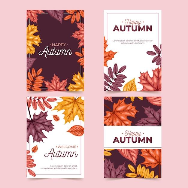 Colección de tarjetas de otoño vector gratuito