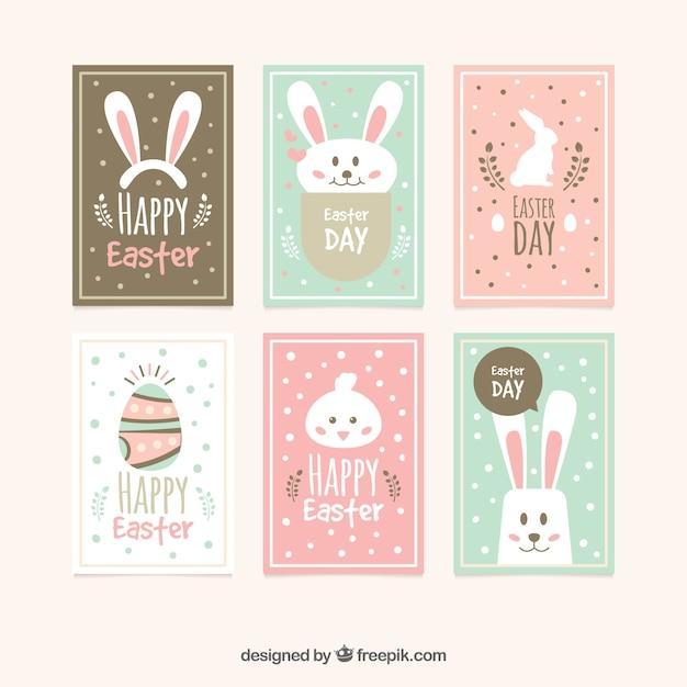 Colección de tarjetas planas del día de pascua vector gratuito