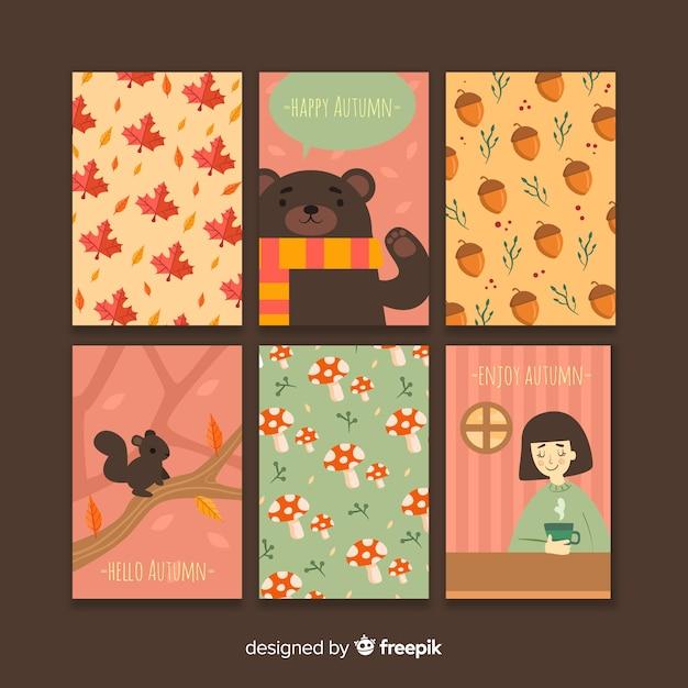 Colección de tarjetas planas de otoño. vector gratuito