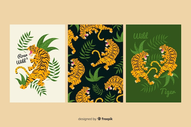 Colección de tarjetas de tigre dibujadas a mano vector gratuito