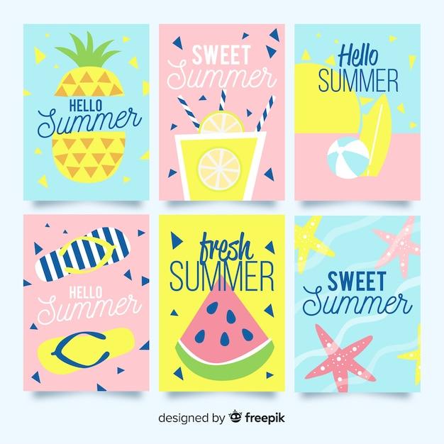 Colección tarjetas de verano dibujadas a mano vector gratuito