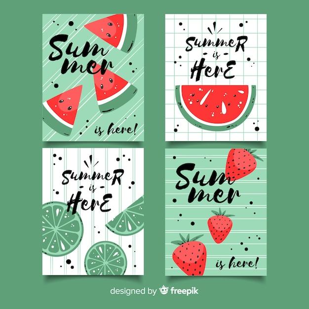 Colección tarjetas verano dibujadas a mano vector gratuito