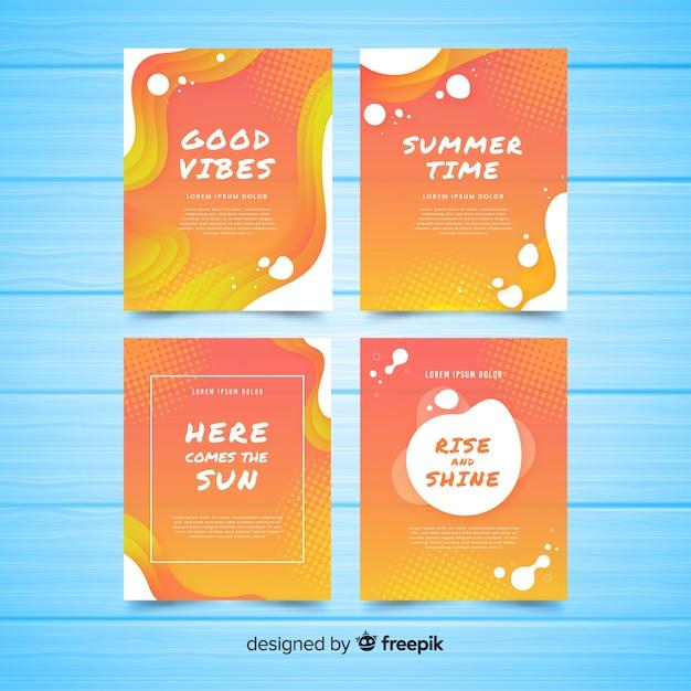 Colección tarjetas verano líquidas vector gratuito