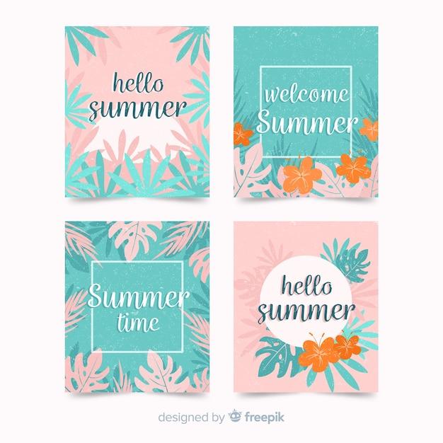 Colección de tarjetas de verano vector gratuito