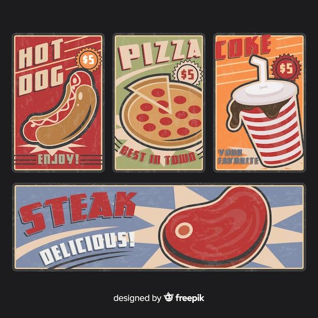 Colección tarjetas vintage comida vector gratuito
