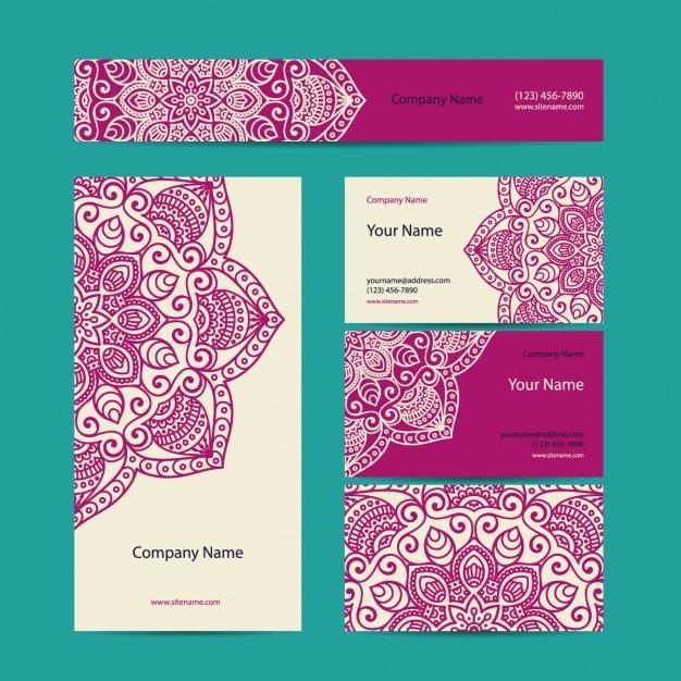 Colección de tarjetas de visita de estilo boho vector gratuito