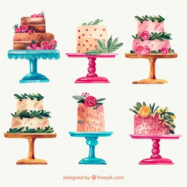 Colección de tartas de acuarela Vector Premium