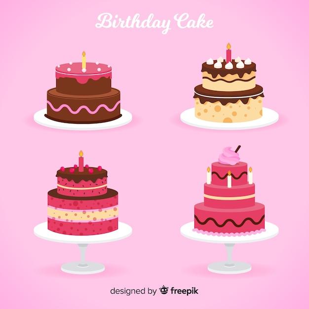 Colección de tartas de cumpleaños en diseño plano vector gratuito