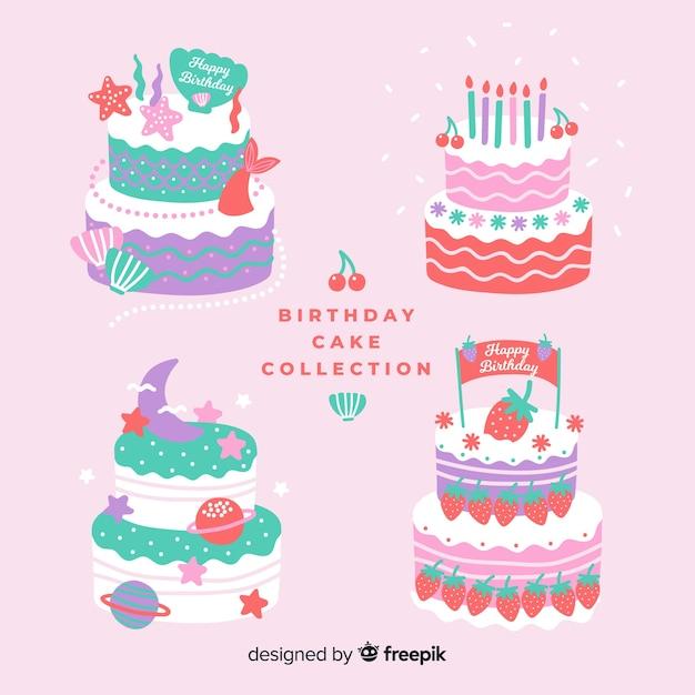 Colección tartas de cumpleaños en diseño plano vector gratuito