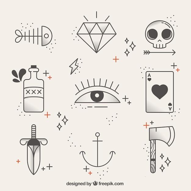 Coleccion De Tatuajes Lineales Descargar Vectores Gratis