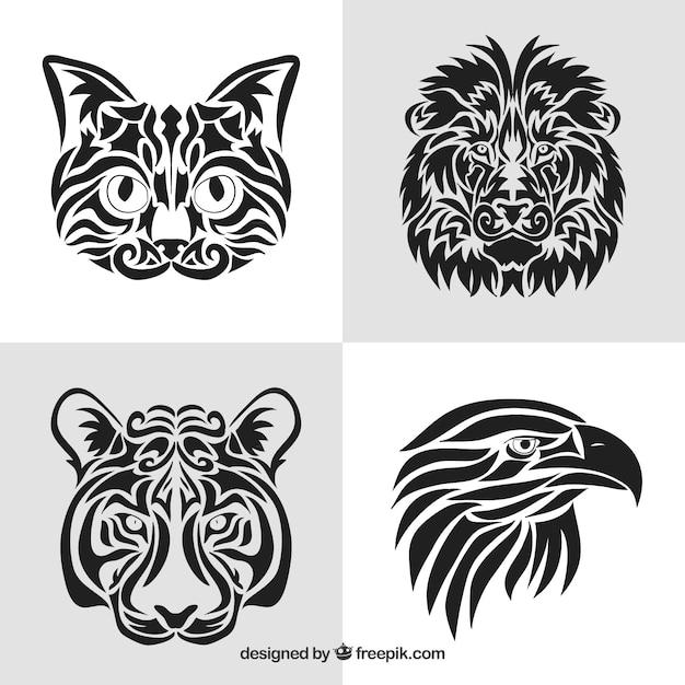 Colección de tatuajes tribales de animales vector gratuito