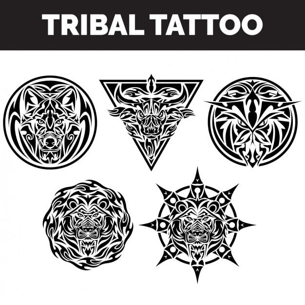 Colección de tatuajes tribales vector gratuito