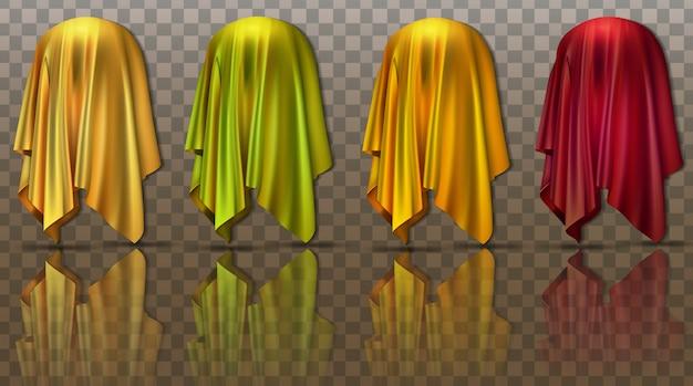 Colección de tejidos levitando con presentación sorpresa oculta de un nuevo producto Vector Premium
