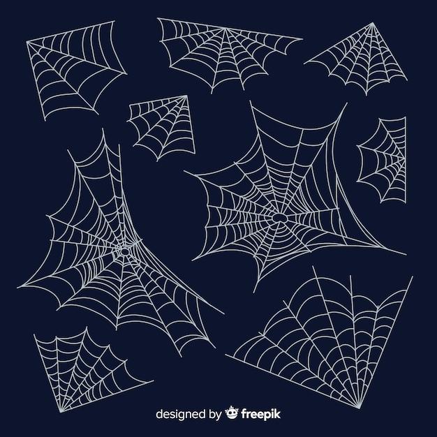 Colección de telarañas de araña dibujada a mano vector gratuito