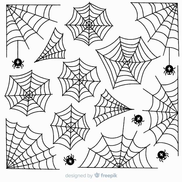 Colección de telarañas dibujadas a mano sobre fondo blanco. vector gratuito