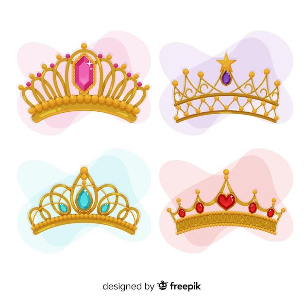 Colección tiaras de princesa doradas vector gratuito