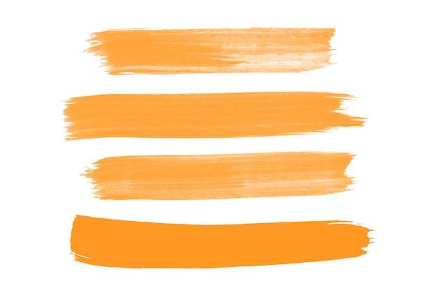 Colección de trazos de pincel naranja Vector Premium