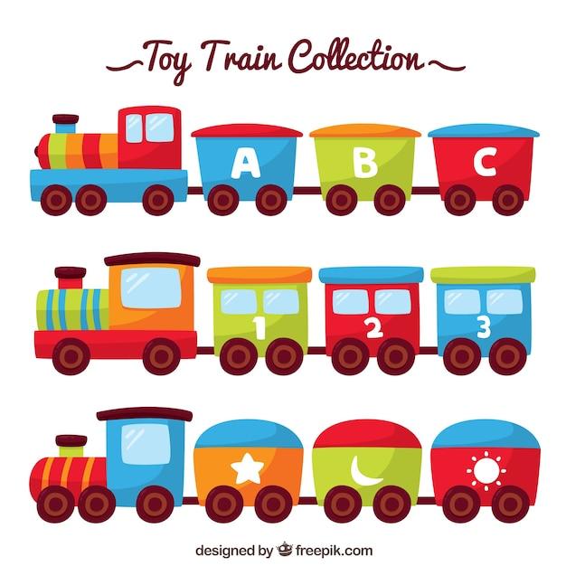 Colección de trenes de juguete planos vector gratuito