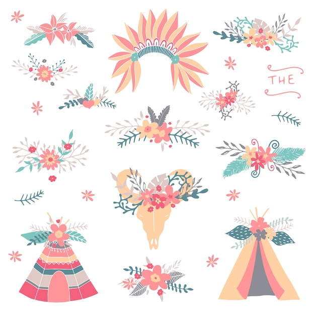 colecci u00f3n tribal floral teepee  boda floral  flecha downloadable clipart collection downloadable clipart images free