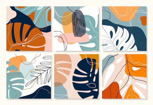 Colección tropical abstracta de fondos / carteles / pancartas con diseño decorativo moderno, colores pastel Vector Premium
