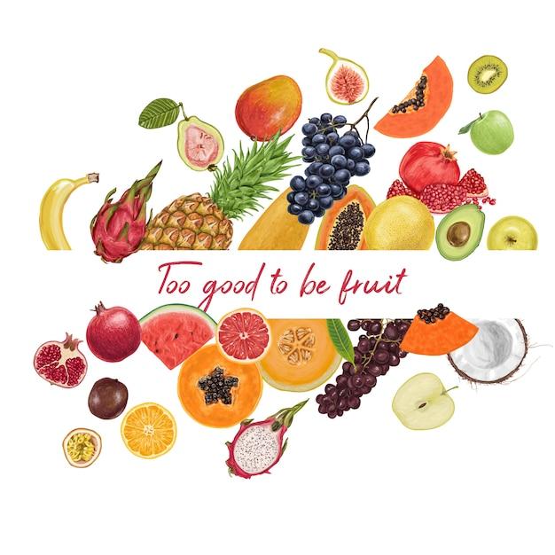 Colección tropical de frutas frescas y jugosas. Vector Premium