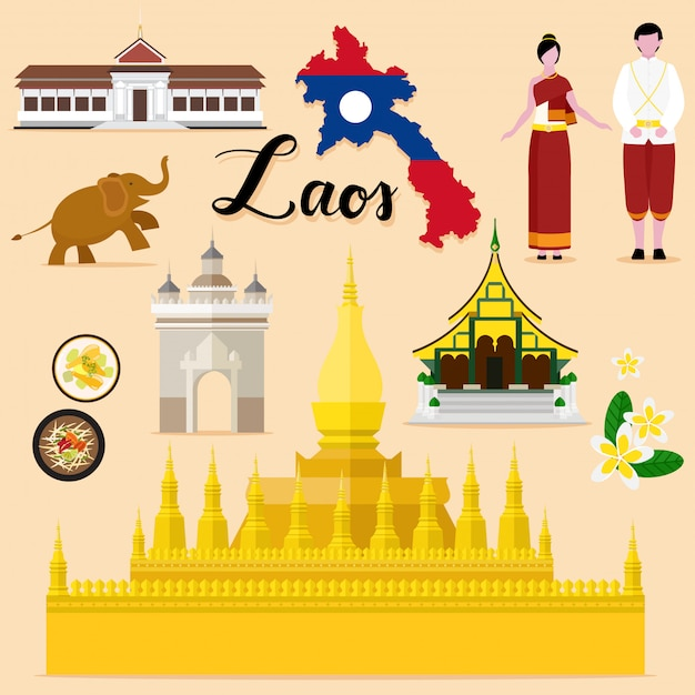 Colección turística de viajes de laos. Vector Premium