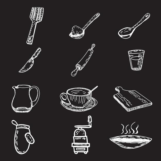 Colección de utensilios de cocina dibujados a mano vector gratuito