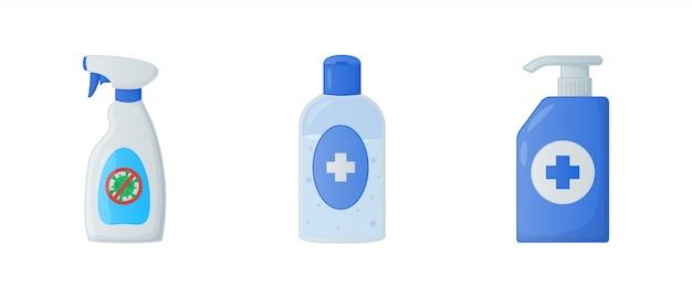 Colección de varias herramientas limpias con jabón líquido desinfectante y desinfectante para manos con estilo plano moderno Vector Premium