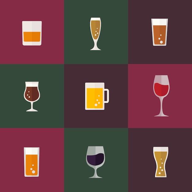 Colección de vectores de bebidas vector gratuito