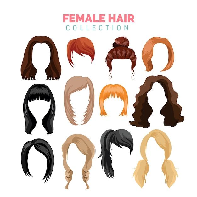 Colección de vectores de cabello femenino Vector Premium