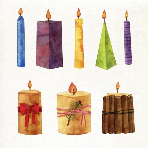 Colección de velas de navidad de acuarela vector gratuito