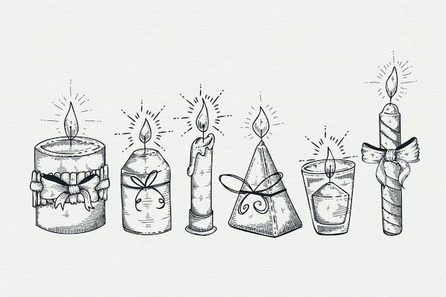 Colección de velas de navidad dibujadas a mano vector gratuito