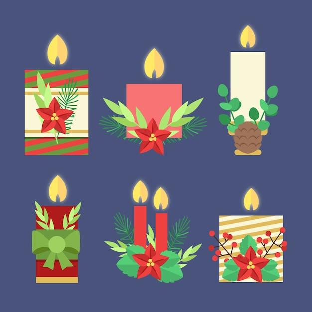 Colección de velas de navidad de diseño plano vector gratuito