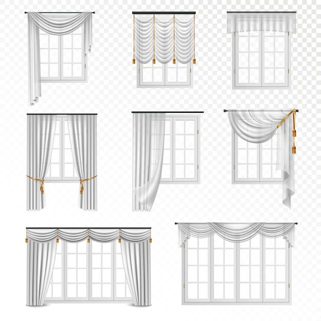 Colección de ventanas realistas con cortinas en estilo clásico, ocho imágenes planas aisladas sobre fondo transparente vector gratuito