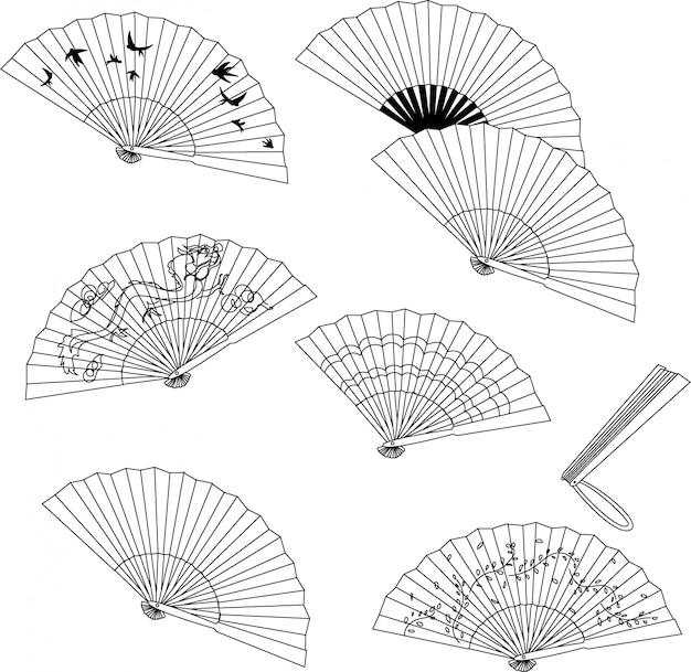 Colección de ventilador de mano aislada sobre un fondo blanco. Vector Premium