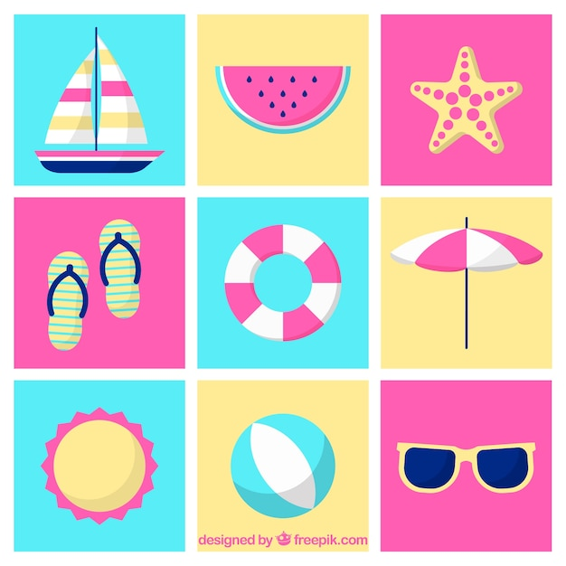 585d86053 Colección de verano con elementos en estilo plano | Descargar ...