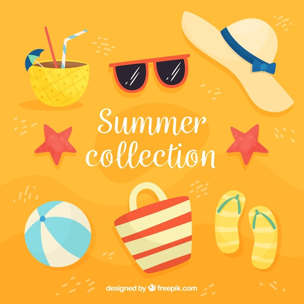 b1c320d9c Colección de verano con elementos de playa | Descargar Vectores gratis