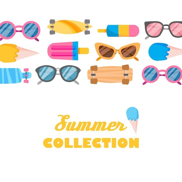 Colección de verano de objetos. vector gratuito