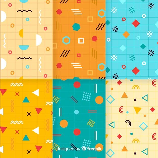Colección vibrante de patrones de memphis vector gratuito
