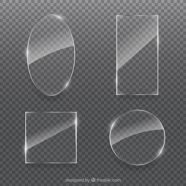 Colección de vidrio con formas diferentes vector gratuito