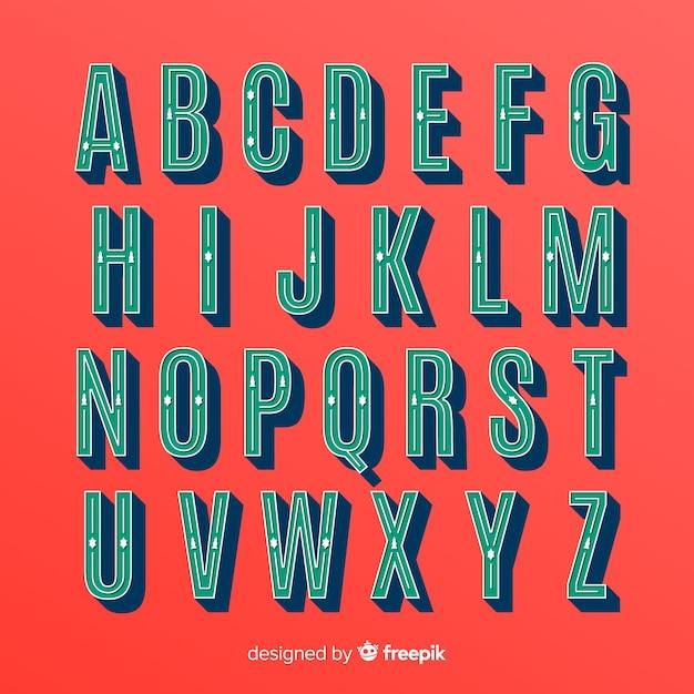 Colección vintage de alfabeto de navidad vector gratuito