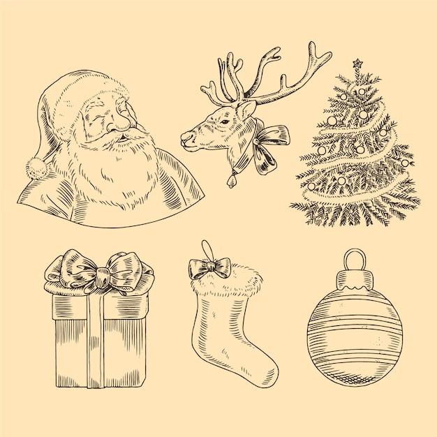 Colección vintage de elementos navideños vector gratuito