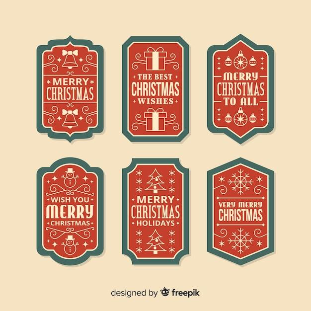 Colección vintage de etiquetas navideñas vector gratuito