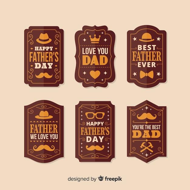 Colección vintage de insignias del día del padre vector gratuito