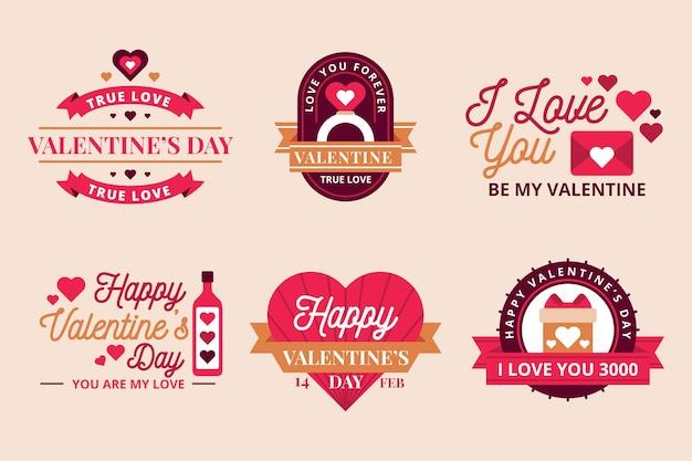 Colección vintage de insignias del día de san valentín vector gratuito