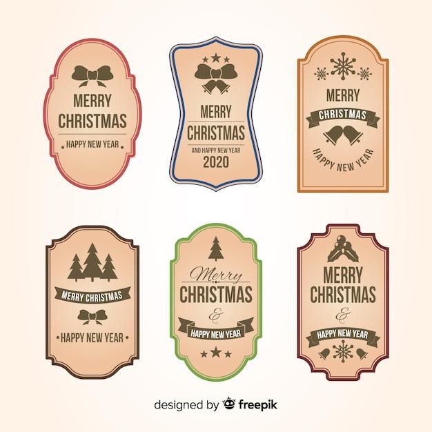 Colección vintage de insignias navideñas vector gratuito
