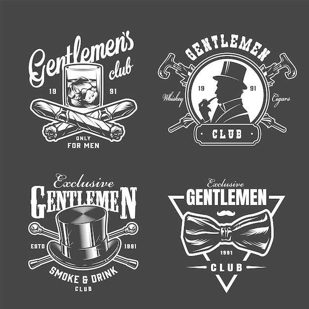 Colección vintage de logos de caballeros vector gratuito