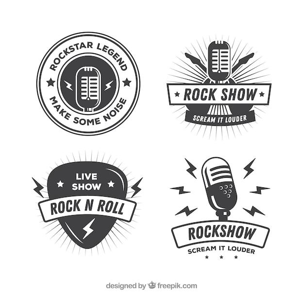 Colección vintage de logos de rock vector gratuito