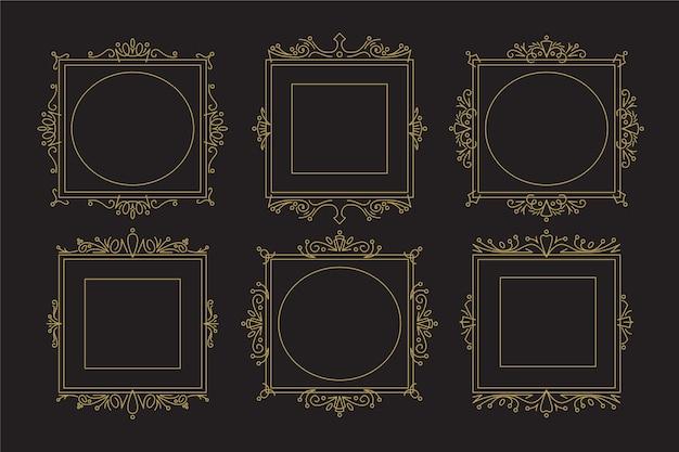 Colección vintage de marcos victorianos vector gratuito