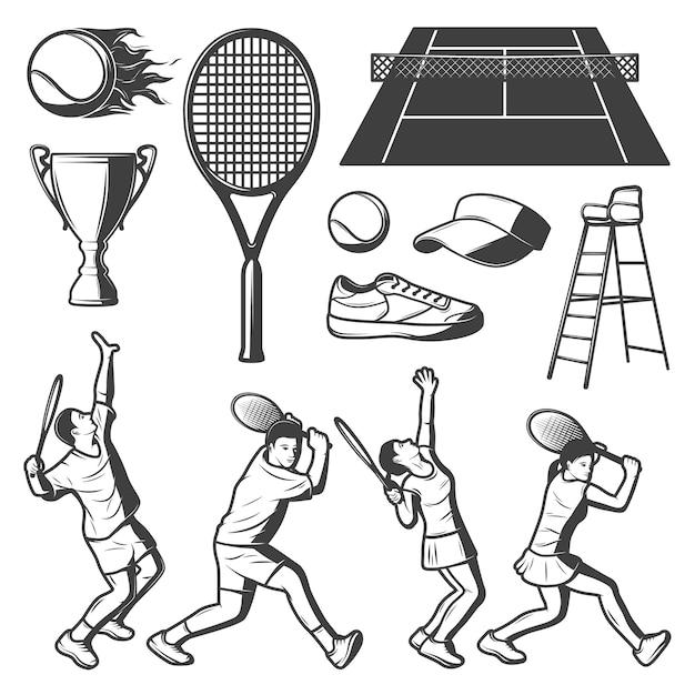 Colección vintage tennis elements vector gratuito